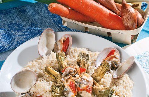 Risotto con carciofi saltati e fasolari, un primo piatto autunnale