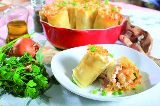Lasagne ricce con piselli e prosciutto, un primo piatto bello e gustoso