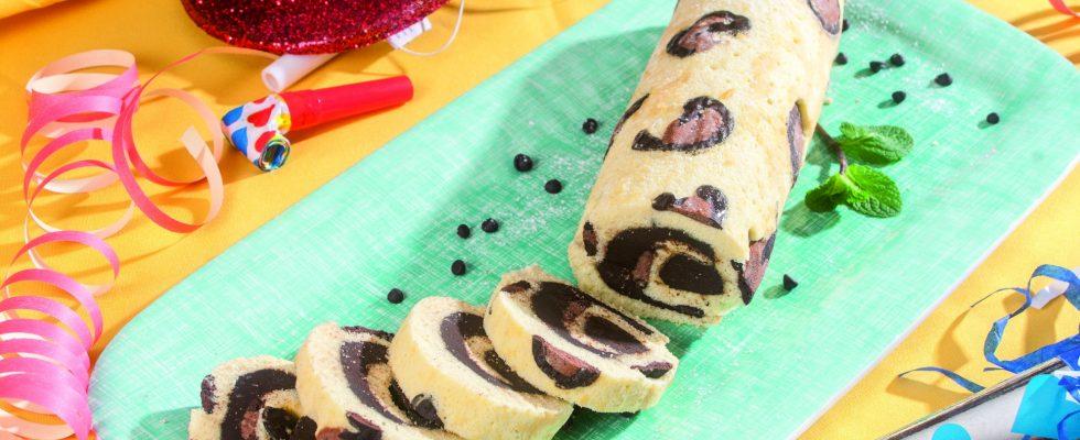 Rotolo leopardato al cioccolato, un dolce di Carnevale