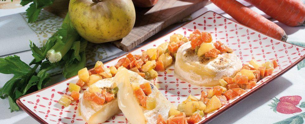 Tomini arrostiti con frutta e verdura alla senape, un secondo piatto vegetariano