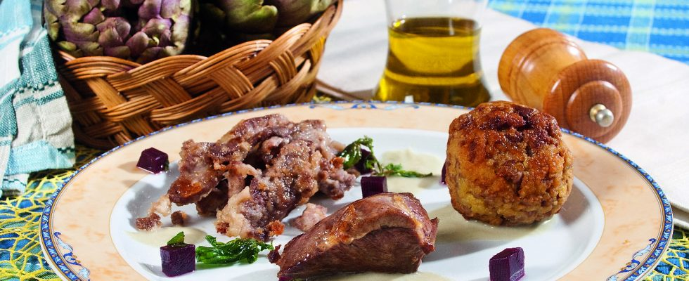 Agnello con crema di carciofi e rape rosse, un secondo piatto invernale