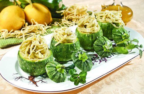 Zucchine tonde ripiene di tagliolini, un primo piatto sfizioso
