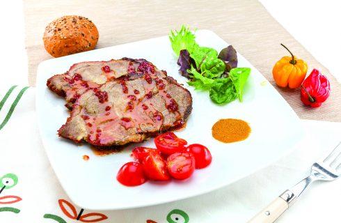 Arrosto di maiale con salsa piccante al barbecue, secondo saporito