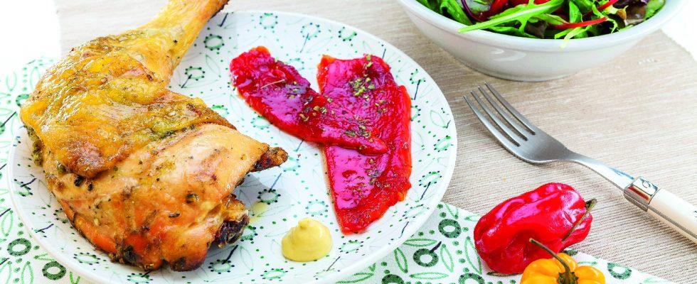 Cosce di pollo parmigiano e basilico al barbecue