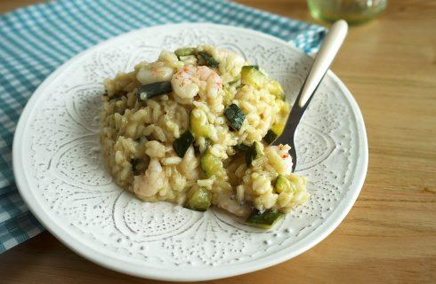 Risotto zucchine e gamberi, primo delicato