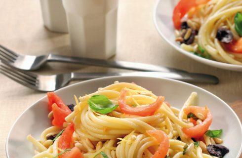 Bucatini pomodori, olive e pinoli al bimby