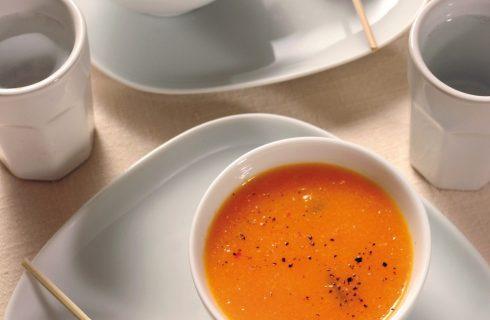 Crema fredda di melone con spiedini di mozzarella e prosciutto al bimby