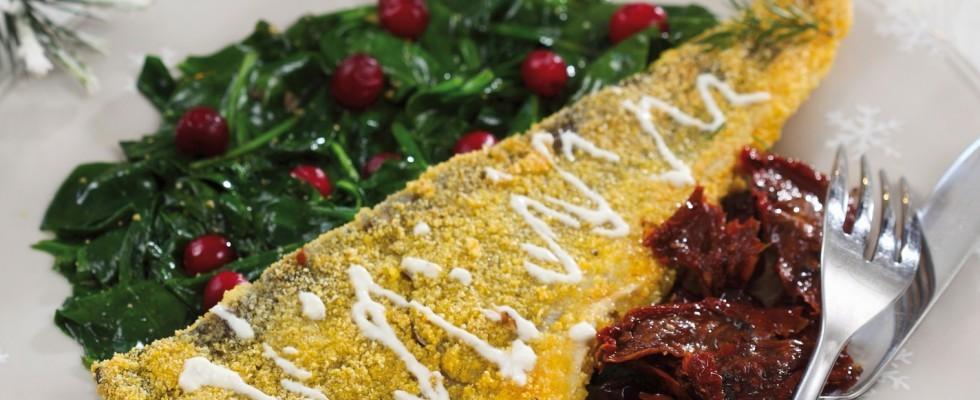 Filetto di pesce in panatura di polenta con spinaci al bimby