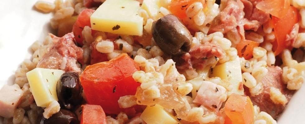 Insalata di farro con carne in gelatina e olive al bimby