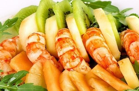 Insalata di gamberi con rucola e frutta fresca al bimby