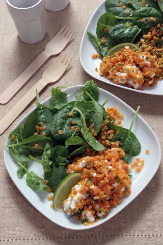 Insalata di lenticchie rosse con stracchino e spinaci al bimby
