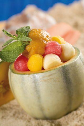 Insalata di melone con sorbetto di cantalupo al bimby