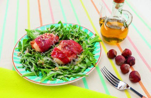 Insalata di pere e prosciutto con vinaigrette allo champagne, al barbecue