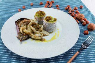 Involtini di filetto di spatola, pane profumato e melanzane: al barbecue