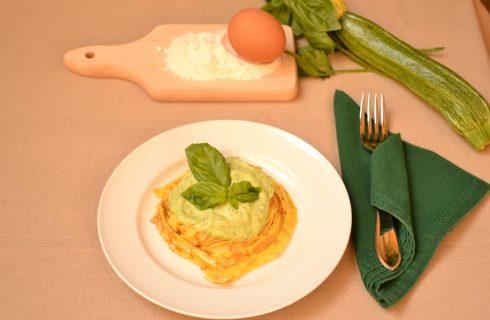 Tagliatelle di crespelle alla crema di zucchine, con il Bimby