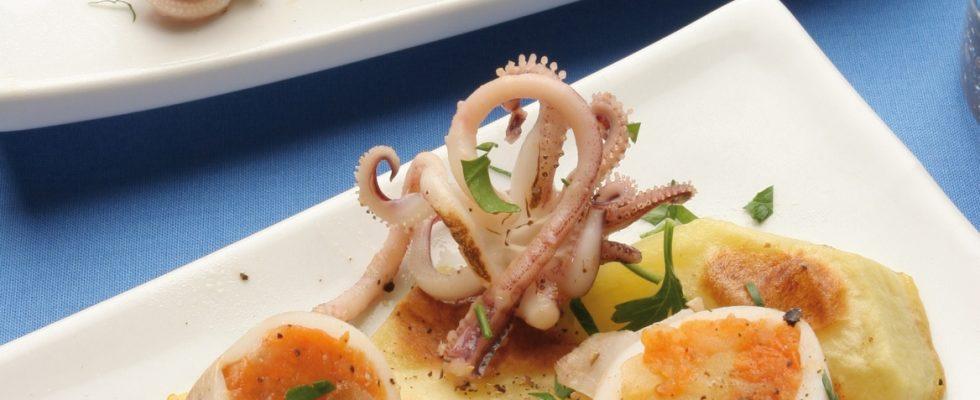Calamari ripieni con zucca al bimby