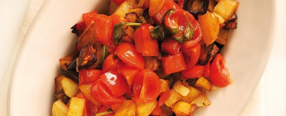 Ciambotta con peperoni, patate e melanzane al bimby