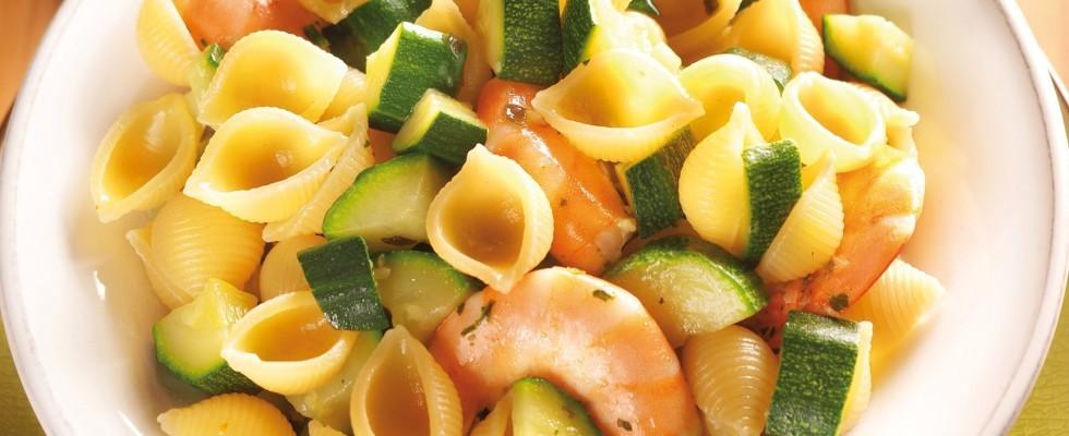 Conchiglie con gamberi e zucchine al bimby