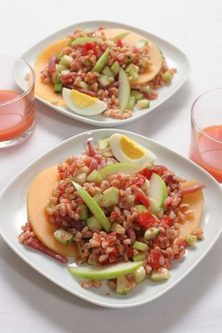 Farro al pomodoro con frutta e pancetta al bimby