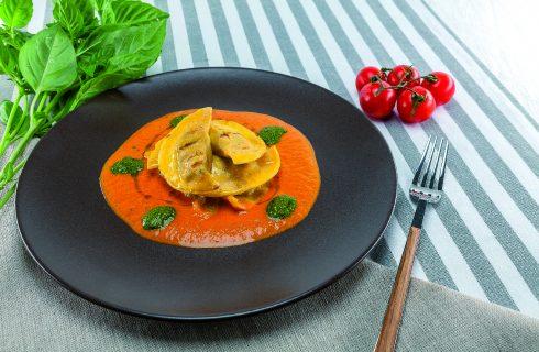 Mezzelune ripiene di parmigiana di melanzane al barbecue