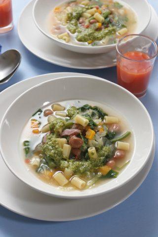 Minestrone di verdure con ditali e pesto al bimby