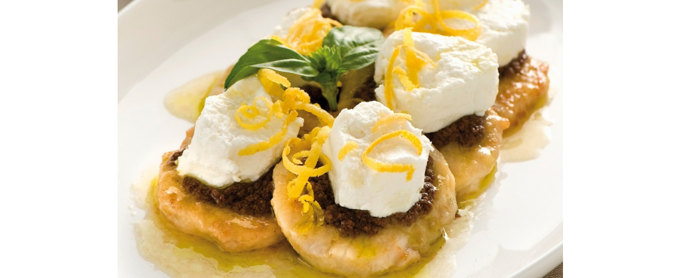 Scaloppine di pollo con crema di olive e ricotta al bimby