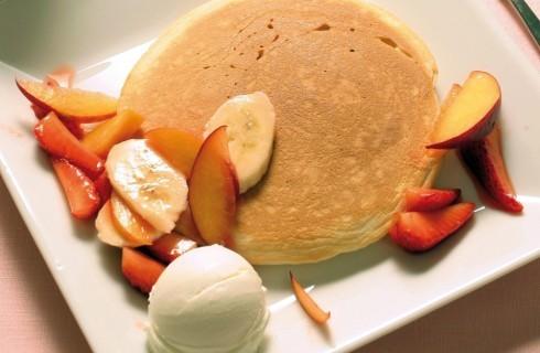 Pancake frutta e gelato alla pesca al bimby
