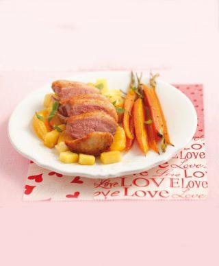 Petto di anatra con arancia, ananas e carote al bimby