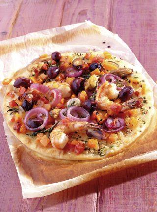 Pizza con frutti di mare al bimby