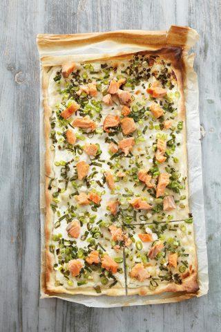 Pizza con salmone e cipollotto al bimby