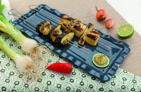 Spiedini di tofu al barbecue: secondo di verdure