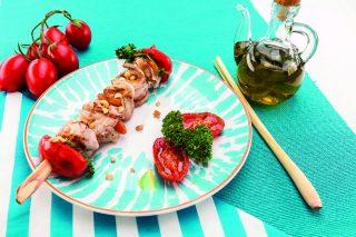Spiedini di capesante al lemongrass con pancetta croccante al barbecue