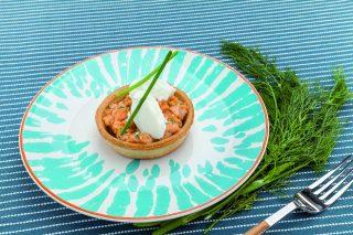 Tartellette al salmone con aneto e limone di Sorrento al barbecue