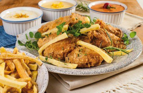 Fried chicken con salse