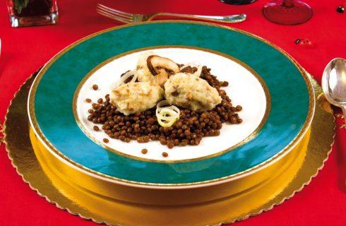 Gnocchi di ricotta ai funghi con lenticchie