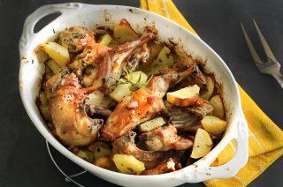 Coniglio arrosto con rosmarino e patate