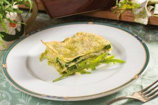 Lasagne di rucola con patate, crescenza e gorgonzola