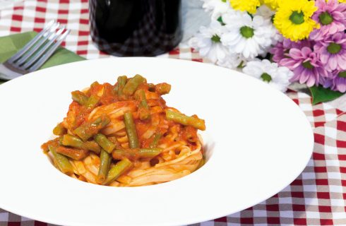 Linguine ai fagiolini, piatto vegano