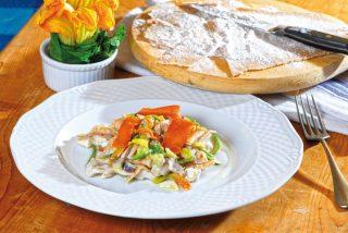 Maltagliati con pesce e zucchine fiorite