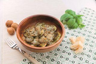 Ravioli con salsa al basilico al barbecue