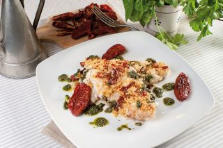 Merluzzo gratinato con pomodori secchi