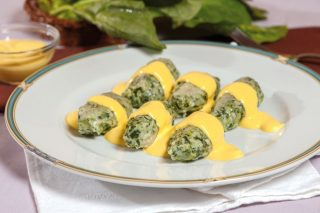 Quenelles di spinaci con crema leggera allo zafferano