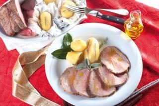 Roast-beef marinato al timo con patate al burro