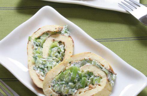 Rotolo di omelette con ricotta, spinaci e cuore di sedano al bimby