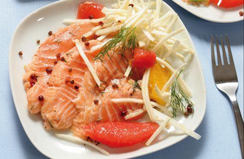 Salmone agli agrumi con insalata di finocchio al bimby