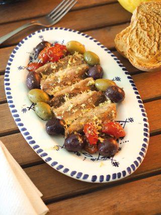 Sarde con olive, pomodorini, limone e aromi al bimby