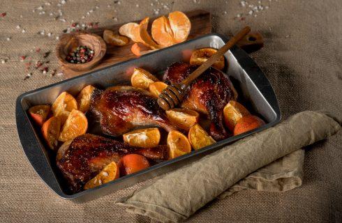 Cosce di pollo ai mandarini al forno
