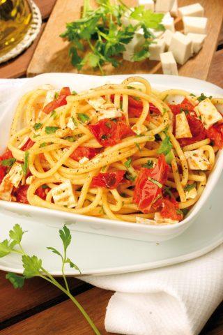 Spaghetti con pomodorini e tofu grigliato al bimby