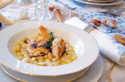 Zuppa di fagioli con spigola e broccoli: piatto unico