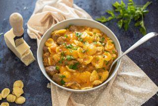 Pasta zucca, salsiccia e pecorino: cremosa